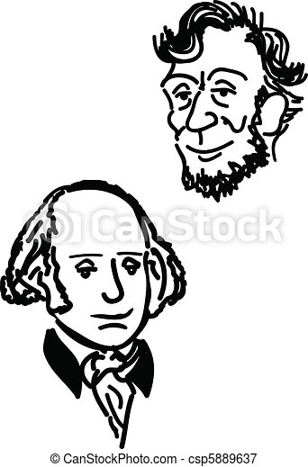 Vectors Illustration of Abe and Georger - A hand drawn depiction ...