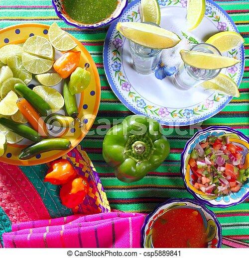 tequila salt lemon mexican chili sauces pepper - csp5889841