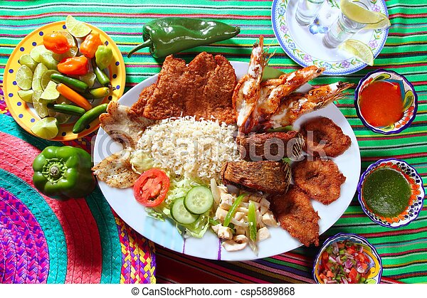 assorted grilled seafood in Mexico tequila chili - csp5889868