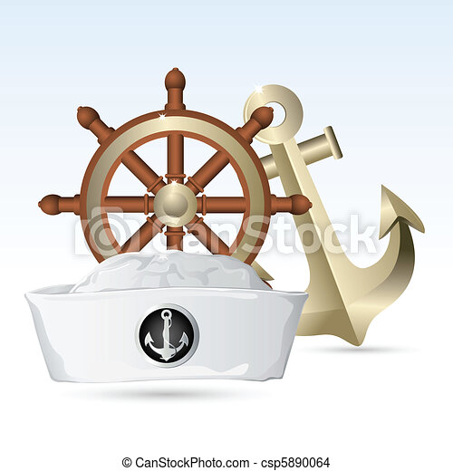 Sailor Hat with Steering Wheel and Anchor - csp5890064
