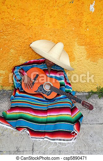Mexican typical lazy man sombrero hat guitar serape - csp5890471
