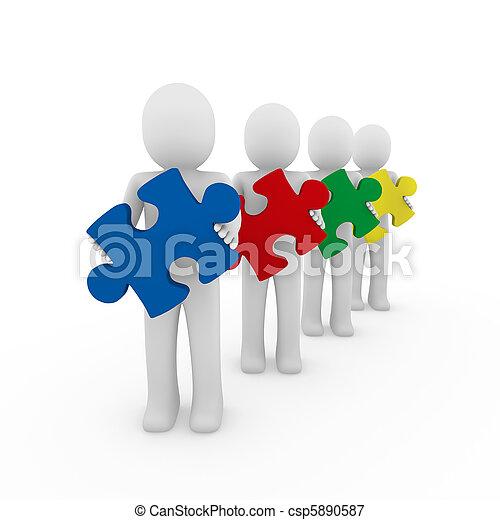 3d men puzzle teamwork - csp5890587