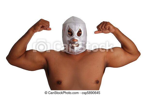 mexican wrestling mask silver fighter gesture - csp5890645