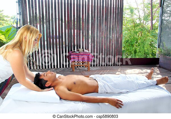 cranial sacral massage therapy in Jungle cabin - csp5890803