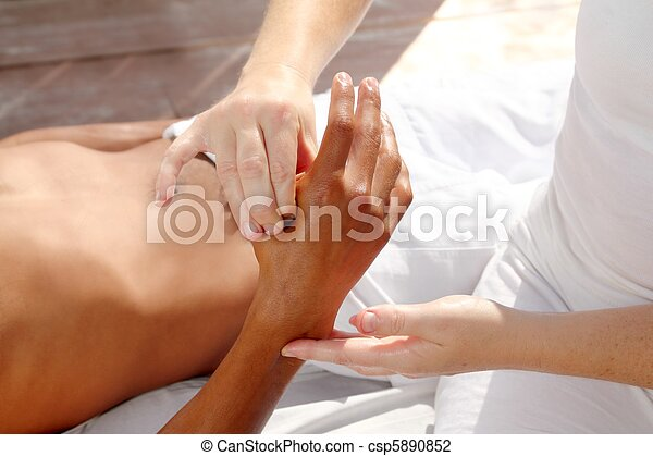 digital pressure hands reflexology massage tuina therapy - csp5890852