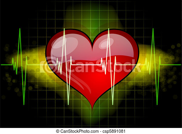 heart with ekg - csp5891081