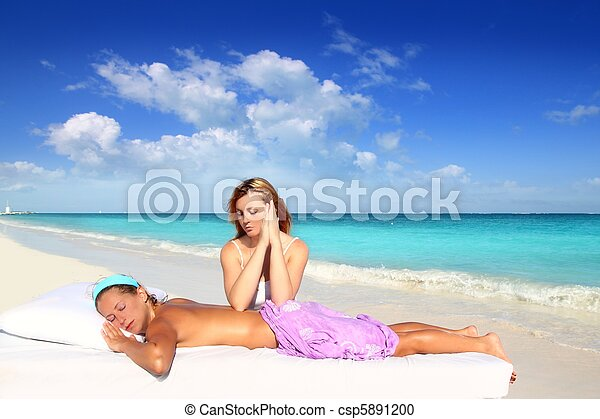 beach massage meditation shiatsu elbows pressure - csp5891200
