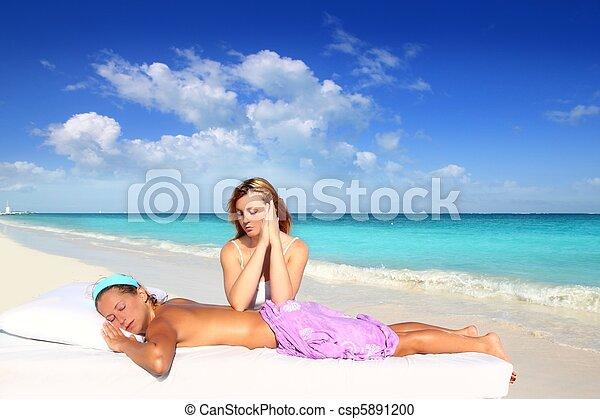 beach massage meditation shiatsu elbows pressure - csp5891200