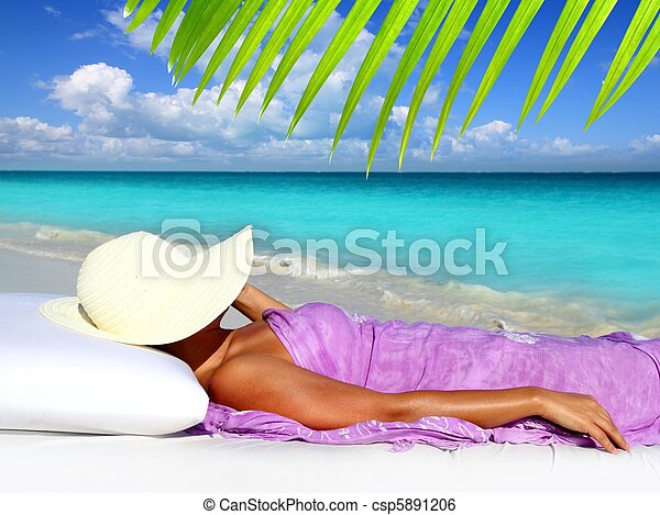 Caribbean tourist resting beach hat woman - csp5891206
