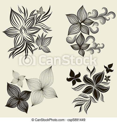 Vector set of flower design element - csp5891449