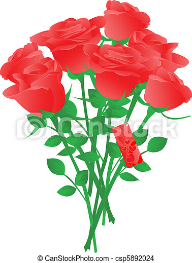 Eps Vector Of Vector Bouquet Of Red Roses With Heart Gift Tag Csp5892024 Search Clip Art