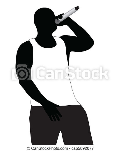 Silhouette of the rapper in a vest - csp5892077