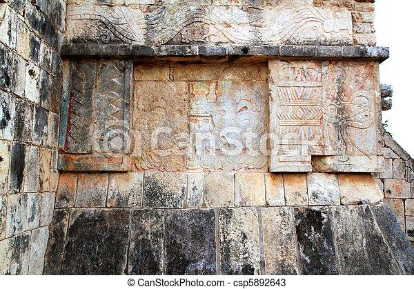 Chichen Itza hieroglyphics Mayan ruins Mexico - csp5892643