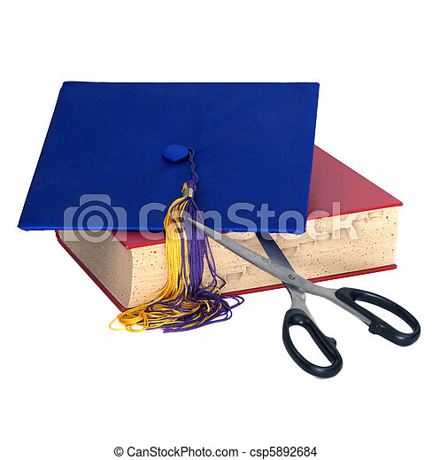 Education Cuts - Scissors Cutting Grad Hat - csp5892684