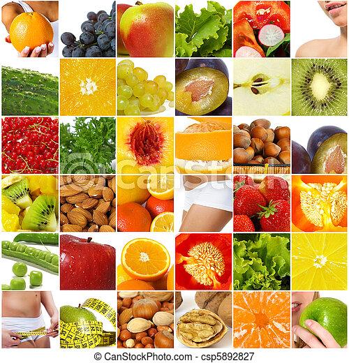 Diet nutrition collage - csp5892827