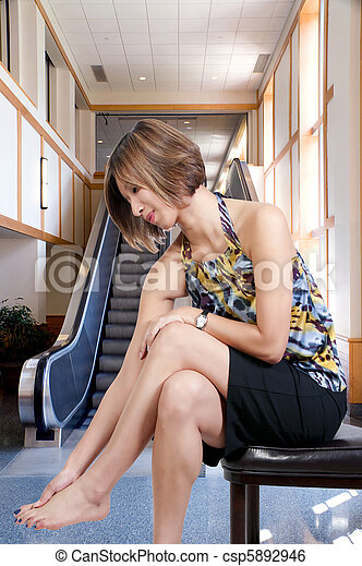 Stock Image Of Asian Woman With Sore Feet A Beautiful