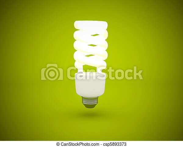 Light bulb lit on green background - csp5893373