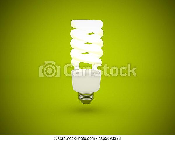 Light bulb lit on green background - csp5893373