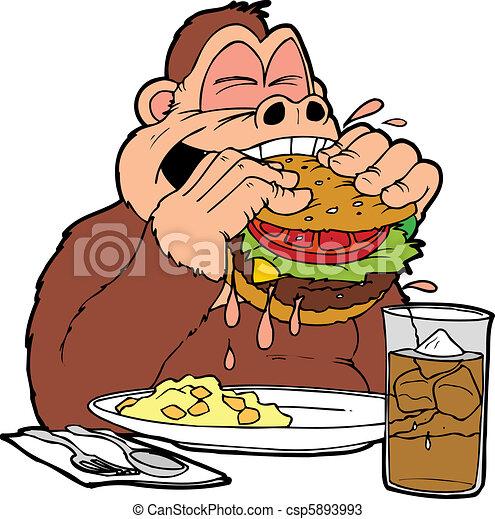 vecteurs de hamburger  singe une  singe  manger  a Une Omelette Une Glace a La Vanille AU Chocolat