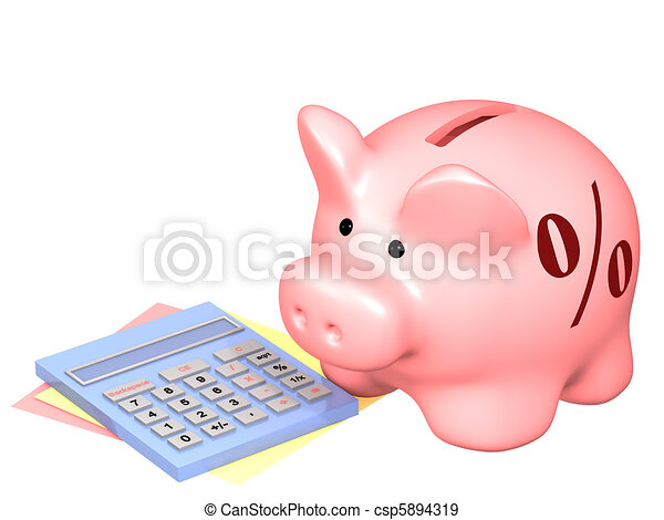 Piggy bank and calculator - csp5894319