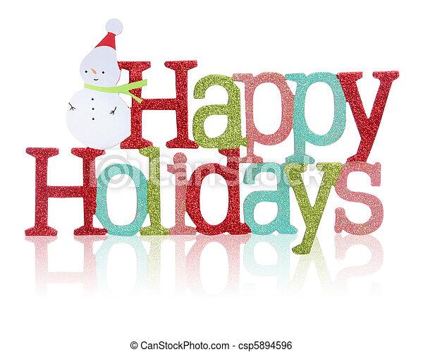 glücklich, zeichen, Feiertage - csp5894596