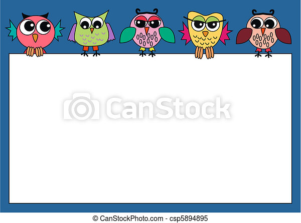 colorful owls holding a sign - csp5894895
