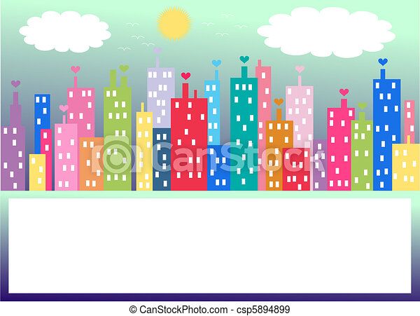 colourful city skyline - csp5894899