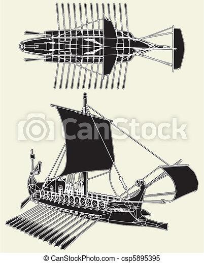 The Ancient Roman Ship - csp5895395