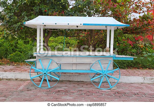 Icecream hot dogs cart white blue in Caribbean island - csp5895857