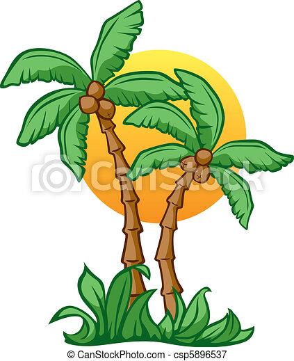 Vectors Illustration of Coconut Sunrise - Vector ...