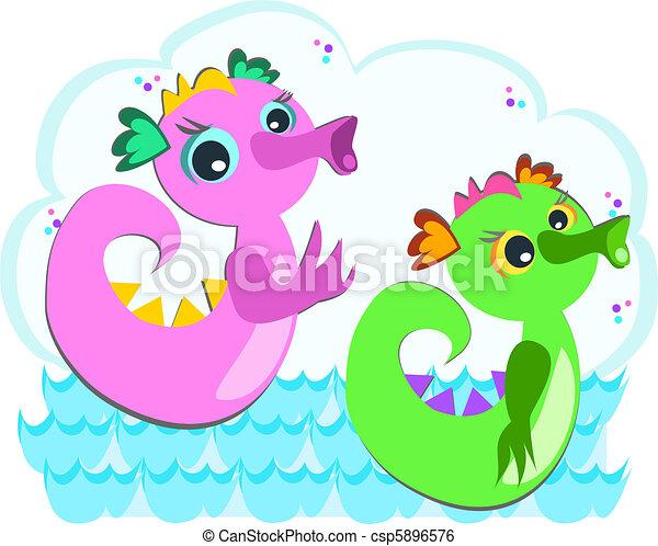 Sea Serpents Swimming - csp5896576