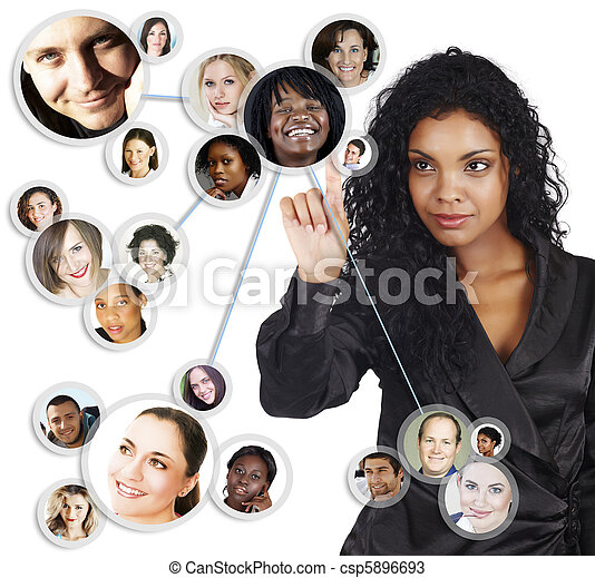 mujer de negocios, norteamericano, africano, red,  social - csp5896693