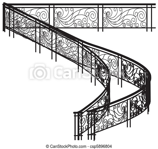 Spiral Fence For Stairs - csp5896804