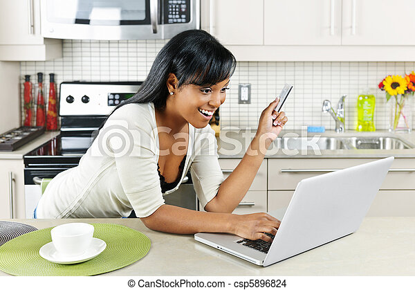 Woman shopping online at home - csp5896824