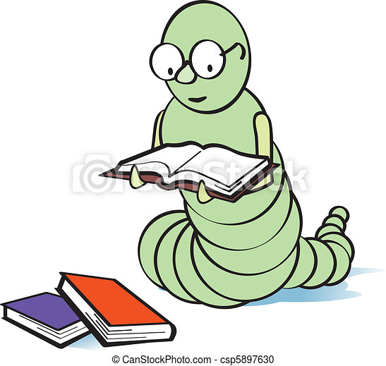 Bücherwurm clipart  Vektor Clipart von bücherwurm - Bookworm, mit, brille, lesende , a ...