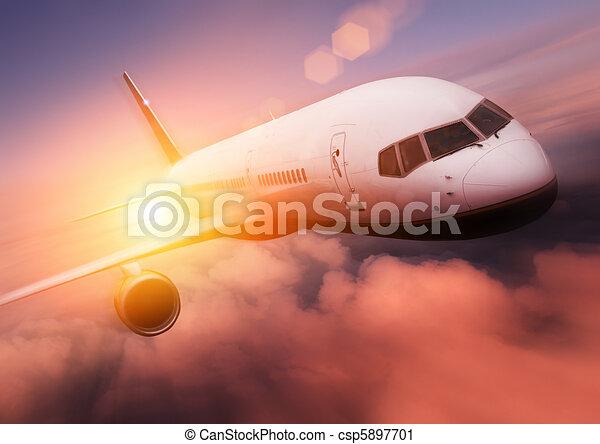 Sunset Airplane Travel - csp5897701