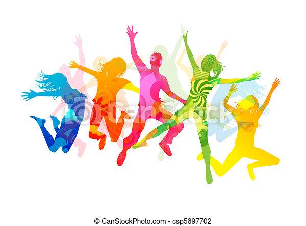 Jumping Summer People - csp5897702