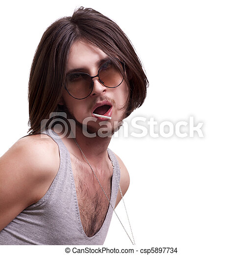 young sexy men suck lollipop on white background - csp5897734