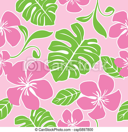 Seamless Hawaiian Summer Pattern - csp5897800