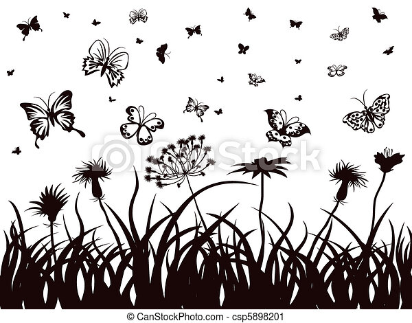 Flowers in Grass Drawing Butterflies Flowers And Grass