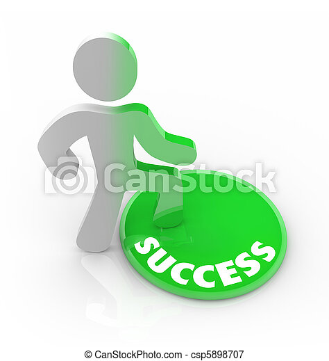Success Changes a Person - Man Steps on Button - csp5898707