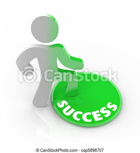 Success Changes a Person - Man Steps on Button - csp5898707