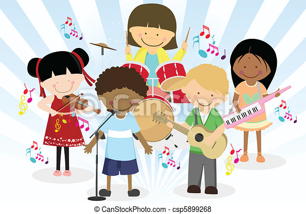 Music band of four little kids - csp5899268