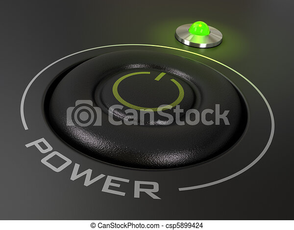 power button on a personal computer, the green led is light up, image is over a black background - csp5899424
