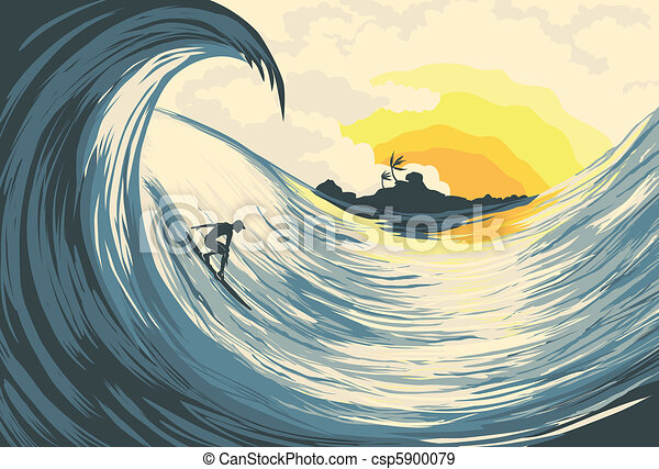 Tropical island wave and surfer - csp5900079