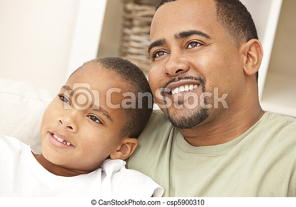 Happy African American Father and Son Family - csp5900310