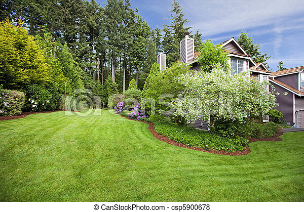 House in the spring with large garden and blossoms - csp5900678