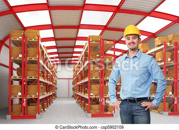 man in warehouse - csp5902109