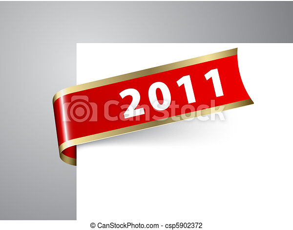 Fresh New Year corner ribbon on a red paper - csp5902372