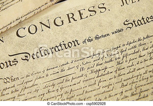 Replica of the U.S. Declaration of Independence, closeup - csp5902928